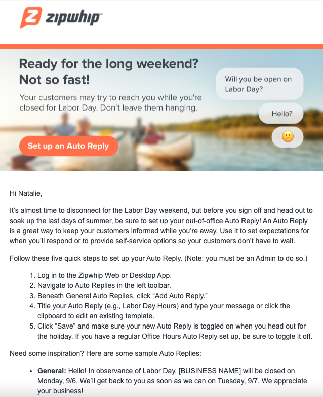 Email Copy: Customer Digest